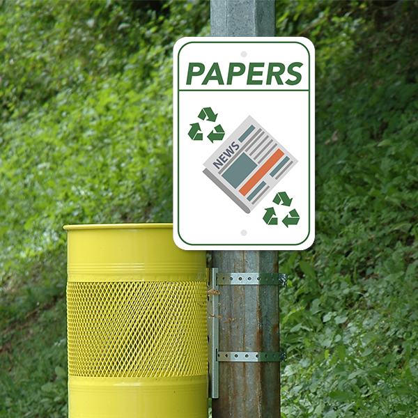 Mounted Vertical Paper Recycling Sign