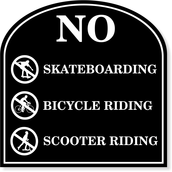 """No Riding Engraved Plastic Sign 