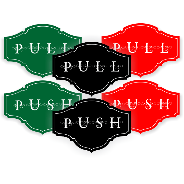 Push / Pull Fancy Decal Set