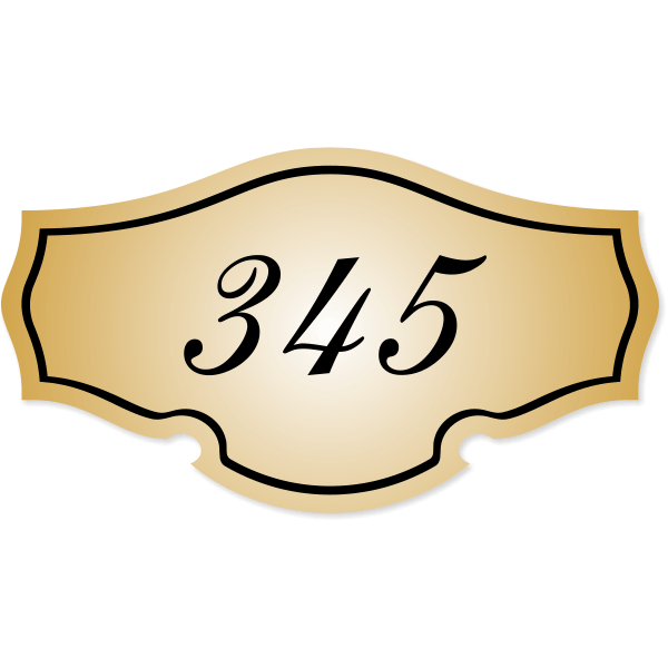 "Engraved Room Number Sign Classic Shape - 3"" x 5.5"""