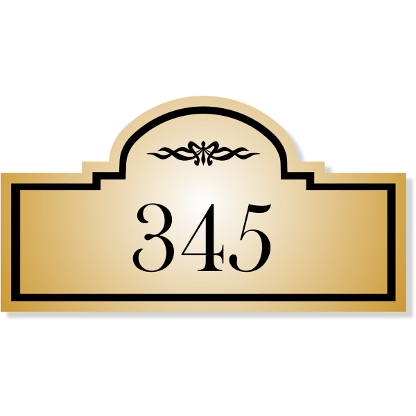 "Engraved Room Number Sign Dome Rectangle Shape - 3"" x 5.5"""