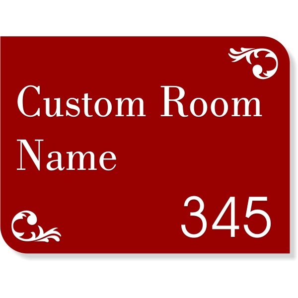 """Room Name and Number Sign with Raised Lettering - 6"""" x 8"""""""