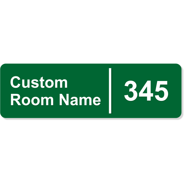 "Room Name and Number Sign with Raised Lettering - 3"" x 10"""
