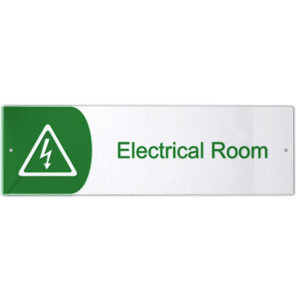 """Electrical Room Icon Acrylic Print Sign - 3"""" x 10"""""""