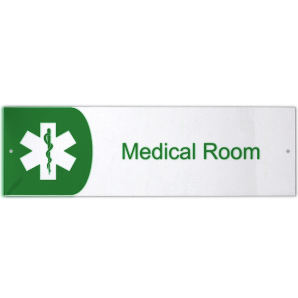 "Medical Room Icon Acrylic Print Sign - 3"" x 10"""