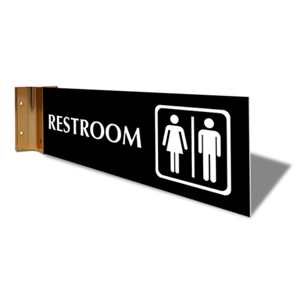 "Restroom Icon Projection Sign | 4"" x 12"""
