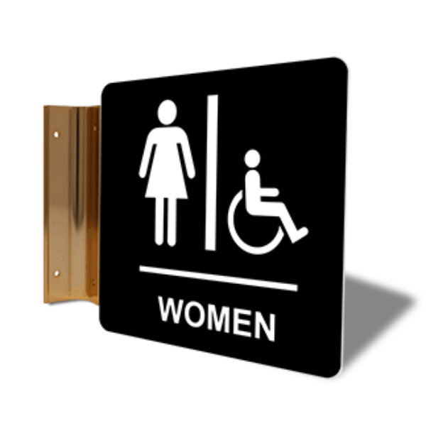 "Women's Handicap Restroom Corridor Sign | 6"" x 6"""