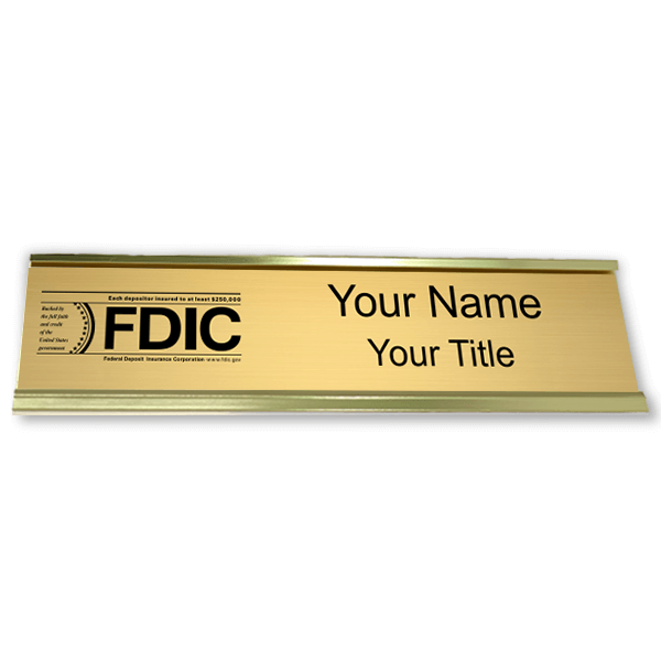 "Engraved FDIC Name Plate with Aluminum Desk Holder | 2"" x 10"""