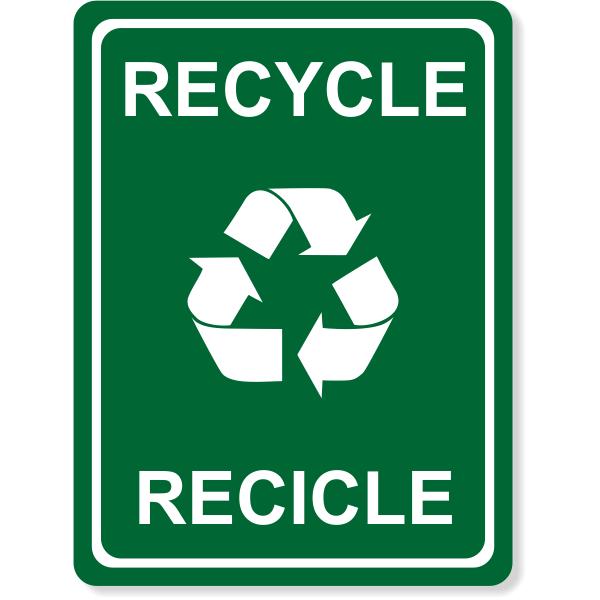 "Engraved Bilingual Recycle Sign | 8"" x 6"""
