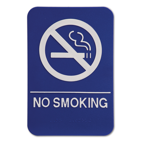 Blue No Smoking ADA Braille Sign