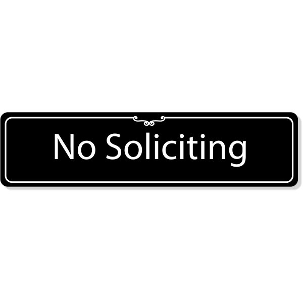 "Engraved Plastic No Soliciting Deco Border Sign | 2"" x 8"""