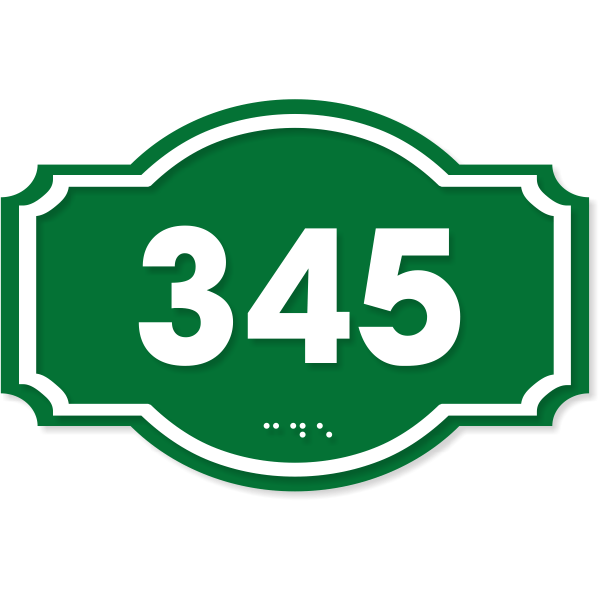 """ADA Decorative Dome Badge Number Sign 