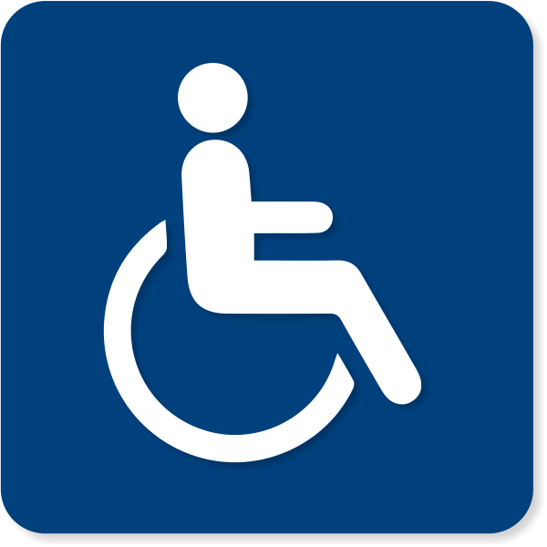 "ISA Wheel Chair Sign w/ Raised Pictogram | 6"" x 6"""