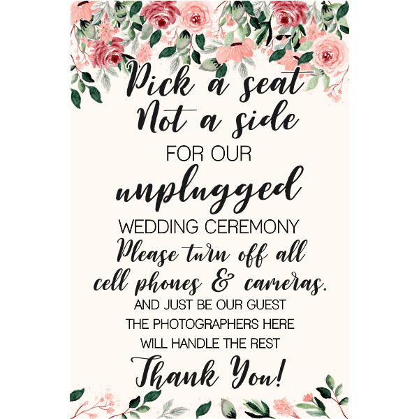 Blush Floral Unplugged Ceremony Sign
