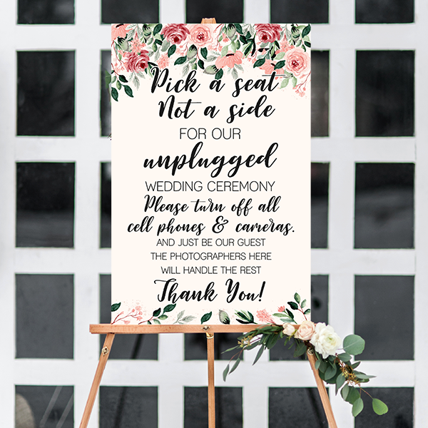 Blush Floral Unplugged Ceremony Sign on an Easel