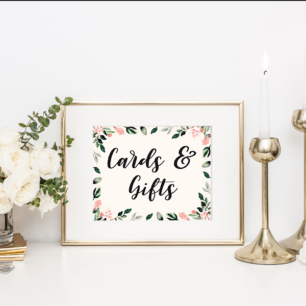 Customized Blush Floral Gift Table Sign