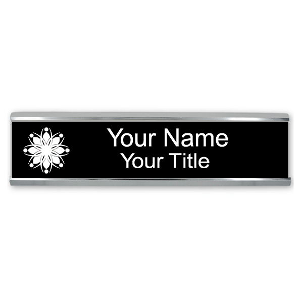 Custom Engraved Name Plate for Wall or Door - Aluminum Holder - 2x10
