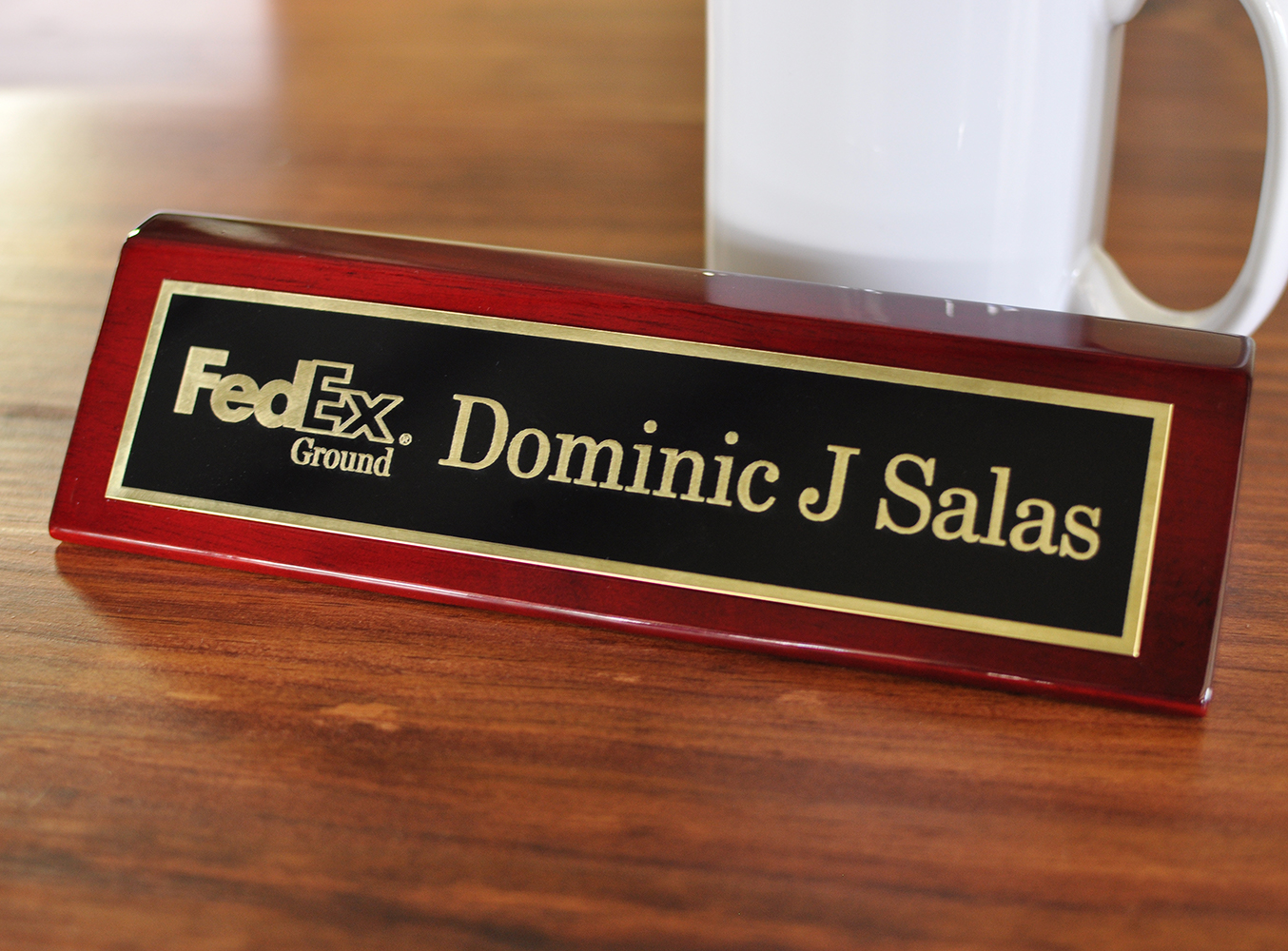 Executive Brass Name Plate With Logo