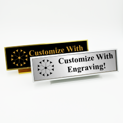 Executive Desk Nameplate Holder with Engraved Insert (Square Corners)