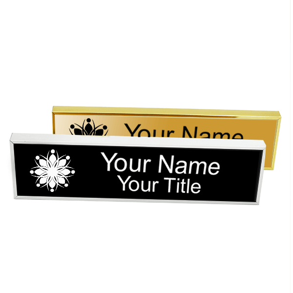 """Executive Wall Nameplate Holder with Engraved Insert (Square Corners) 