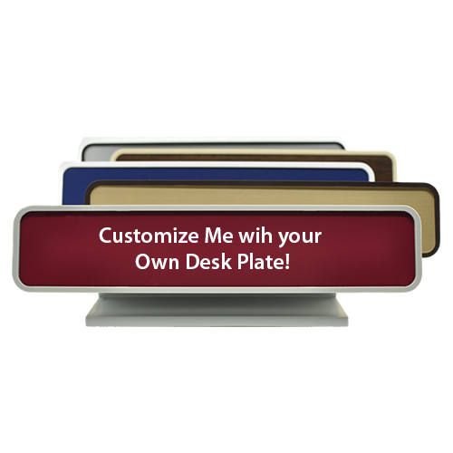 Plastic Rounded Corner Deskplate with Engraved Insert (7129)