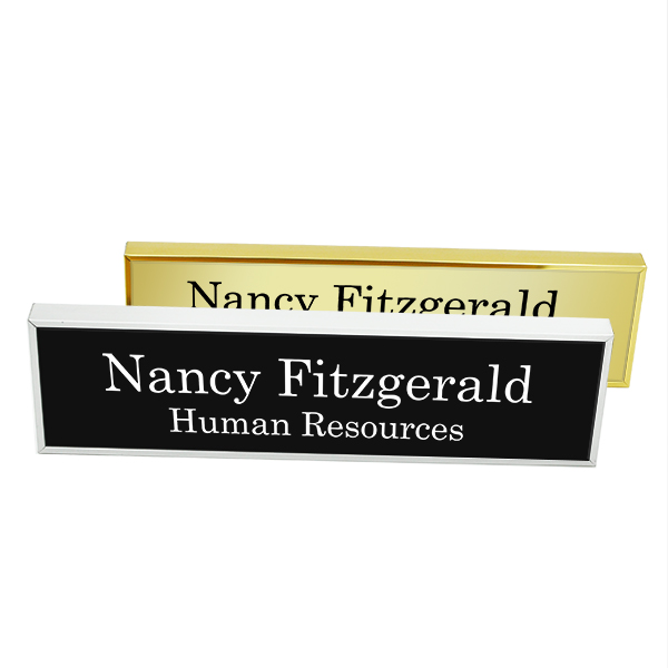 Executive Wall Nameplate Holder with Engraved Insert (Square Corners)