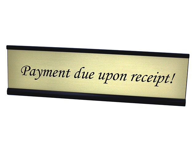 Payment Due upon Receipt Plate Gold