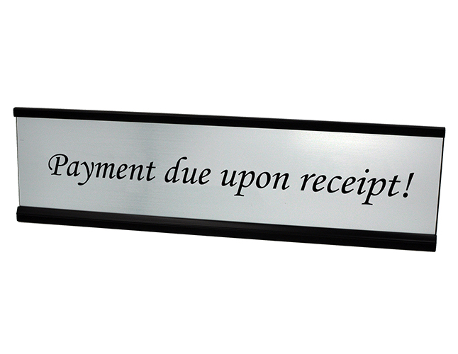 Payment Due upon Receipt Plate Silver
