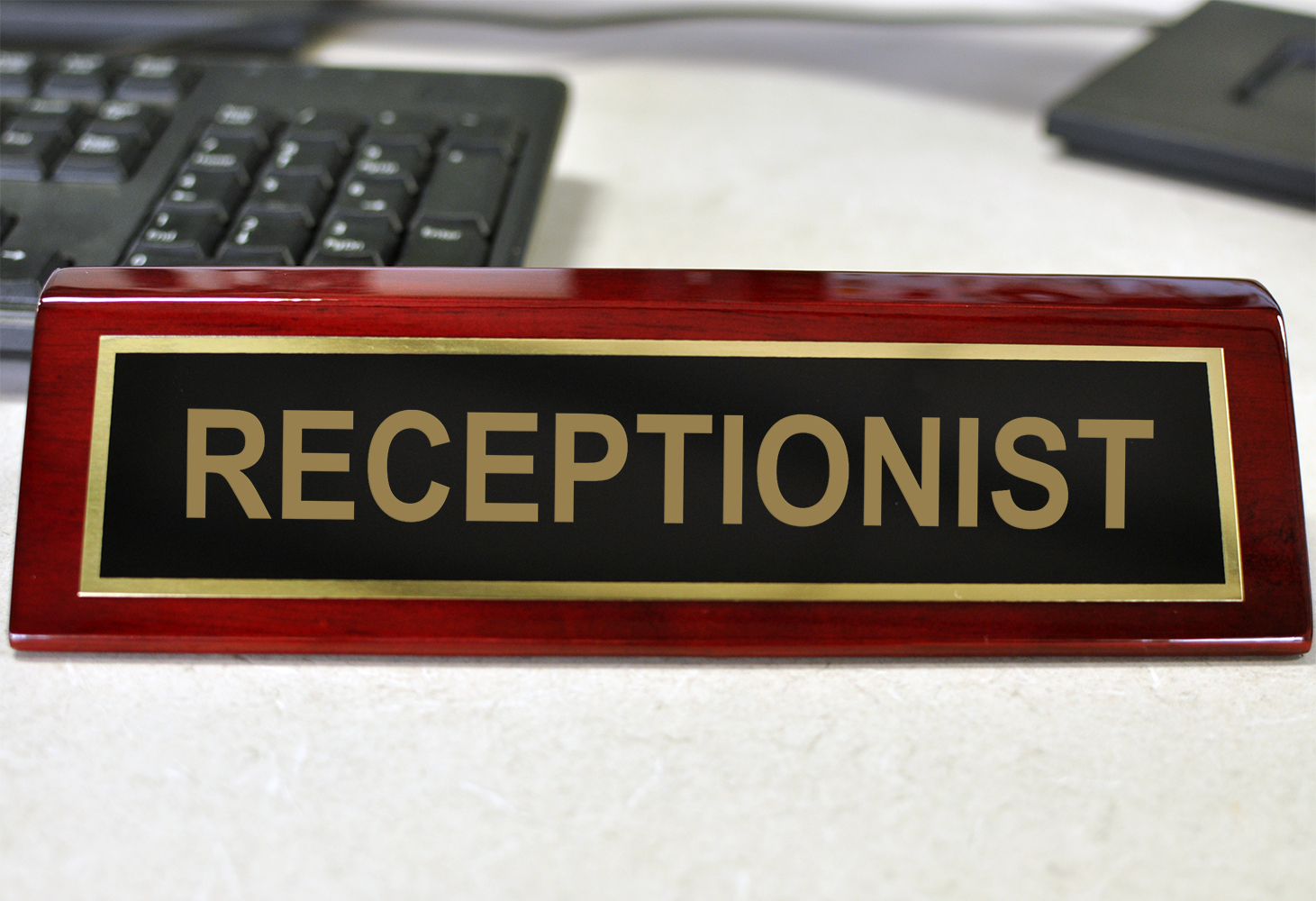 Rosewood Desk Plate Receptionist