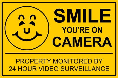Smile You're On Camera Video Surveillance Yard Sign