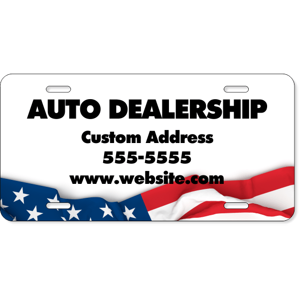 American Flag Auto Dealer License Plate