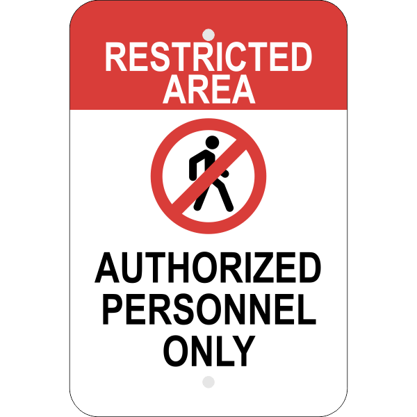 Vertical Restricted Area Authorized Personnel Sign