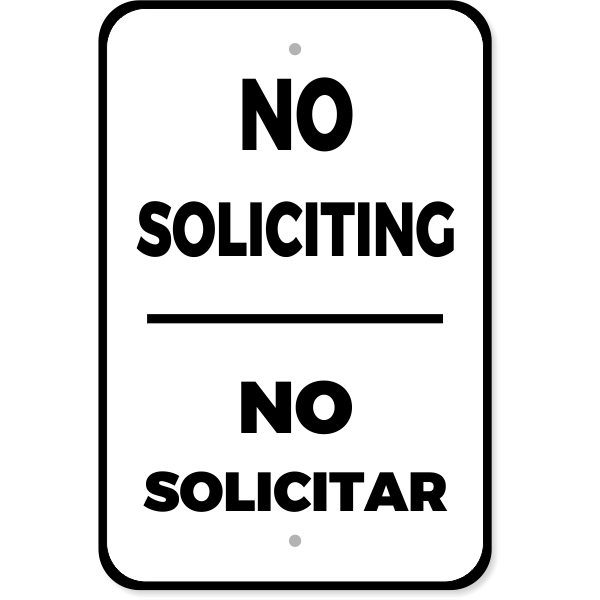 "Bilingual Soliciting Aluminum Sign | 18"" x 12"""