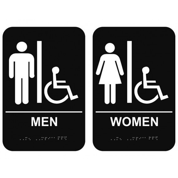 Men's & Women's Handicap Restroom Signs with Braille Black