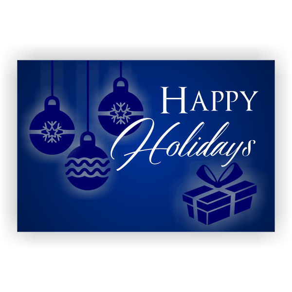 Blue Ornament Happy Holidays Banner | 2' x 3'
