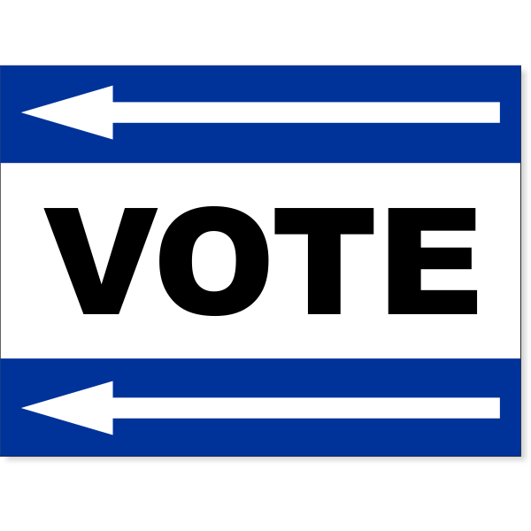 "Blue Vote Left Arrow Yard Sign | 18"" x 24"""