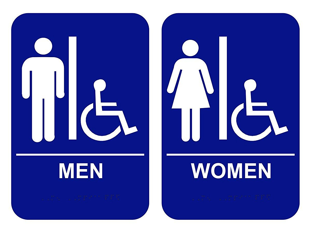 Ada Bathroom Signage ada braille restroom signs, handicap men & women - 6 x 9 - custom