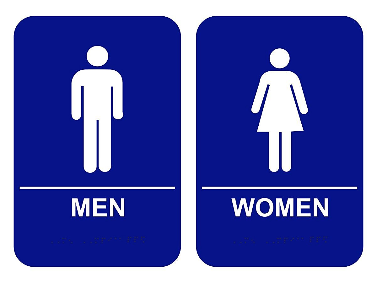 Ada Bathroom Signage blue ada men & women restroom signs set - custom signs