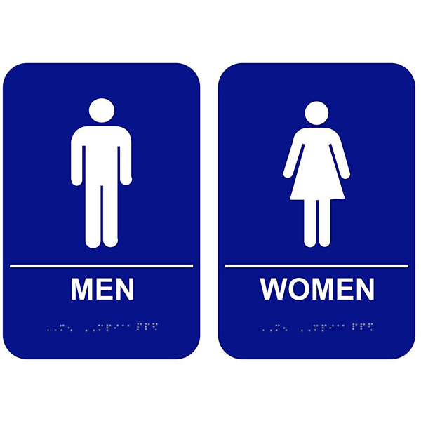 Blue Men & Women ADA Restroom Signs