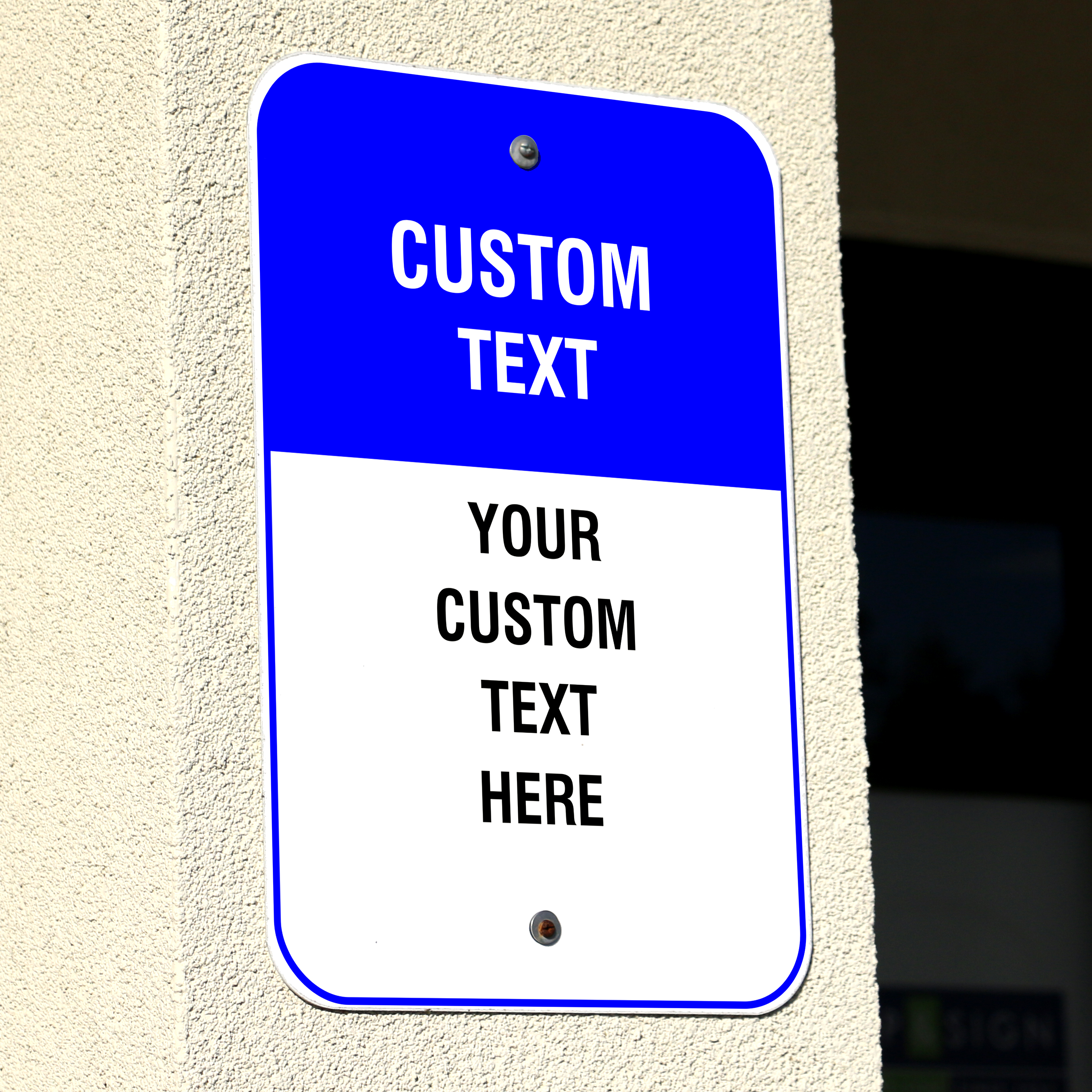 6 Line Custom Text Blue Background Aluminum Sign - 18