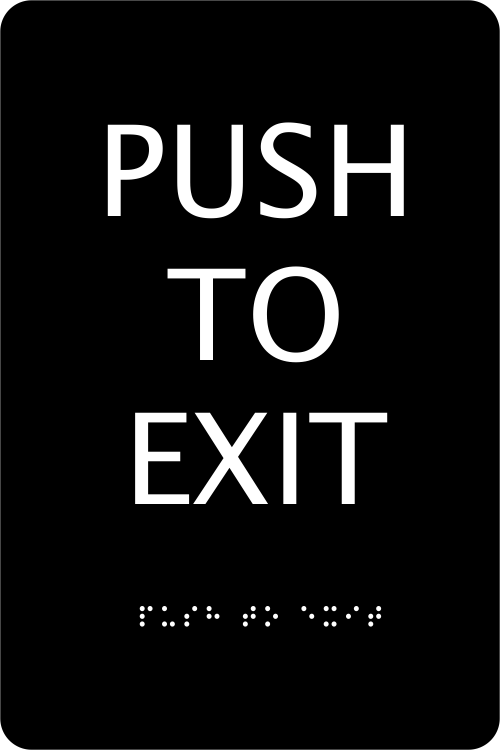 ADA Push To Exit Sign