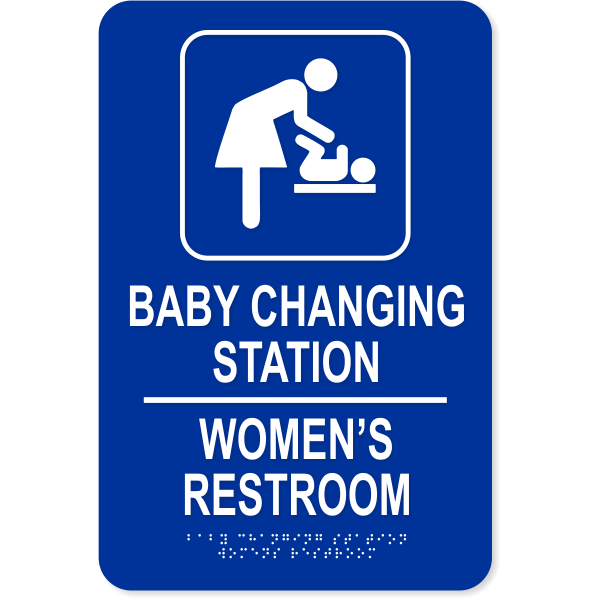 Baby Changing Station Women's Room Sign with Braille