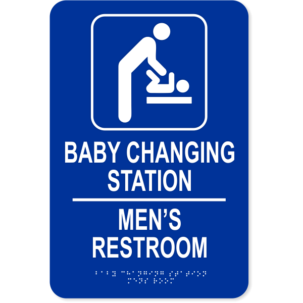 Baby Changing Station Men's Room Sign with Braille