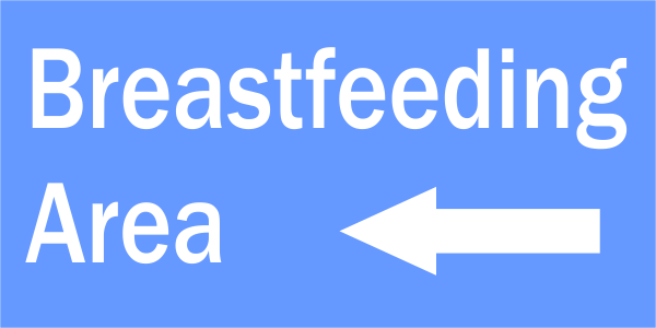 Breastfeeding Area with Left Arrow Engraved Sign