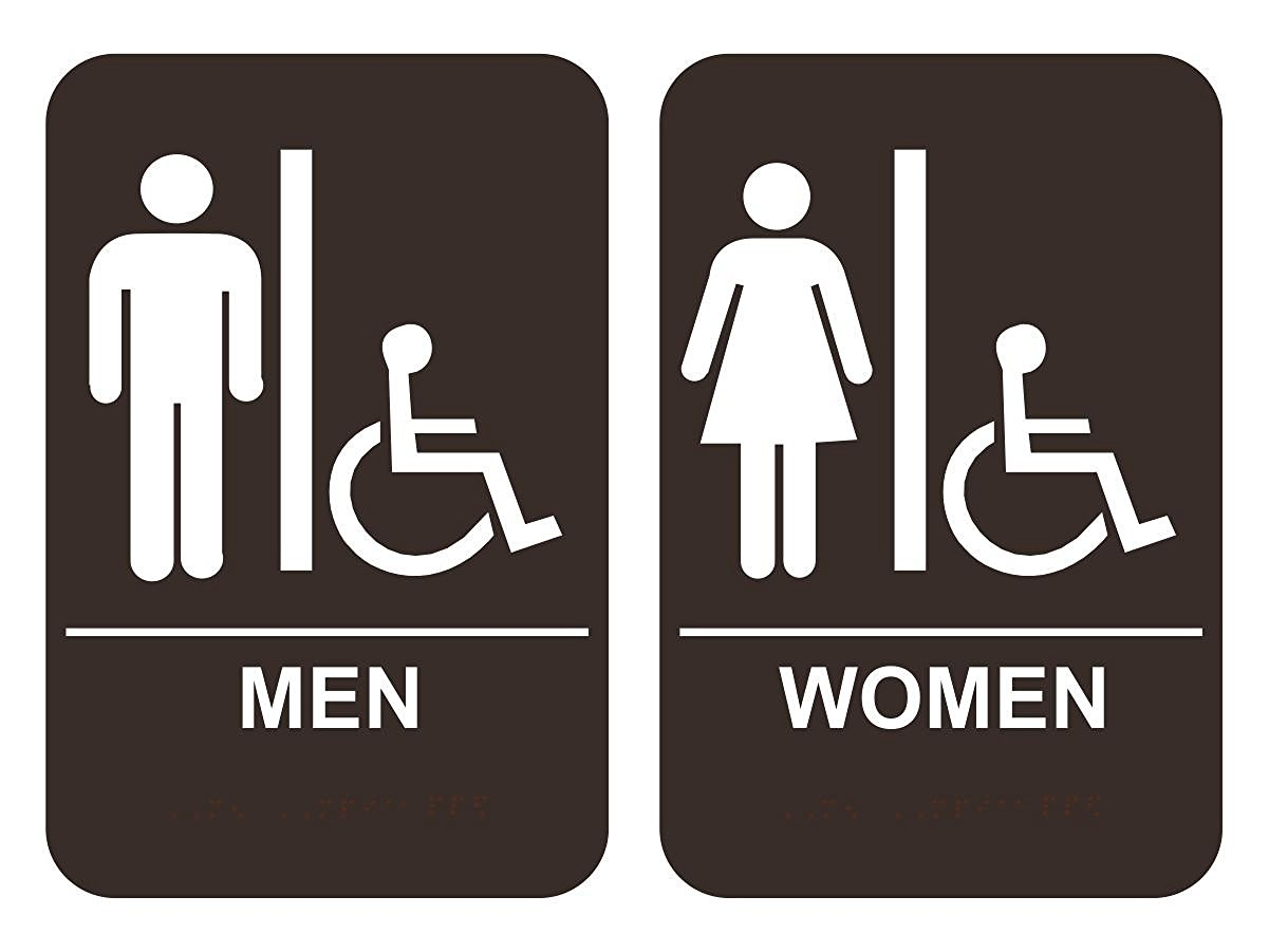 Bathroom Signs Ada men's & women's handicap restroom sign set ada-compliant tactile