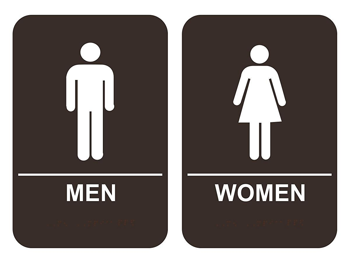 Bathroom Signs Braille men & women's bathroom sign set ada-compliant tactile braille