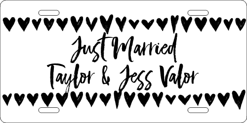 Just Married Custom License Plate with Brushstrokes & Hearts