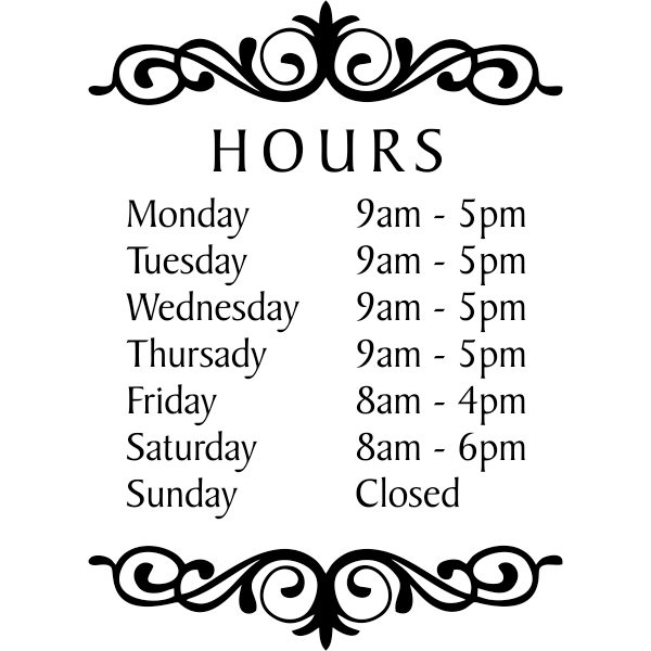 "Baker Die Cut Hours of Operation Decal | 16"" x 12"""