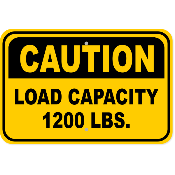 "Caution Load Capacity Custom Pounds Aluminum Sign | 12"" x 18"""