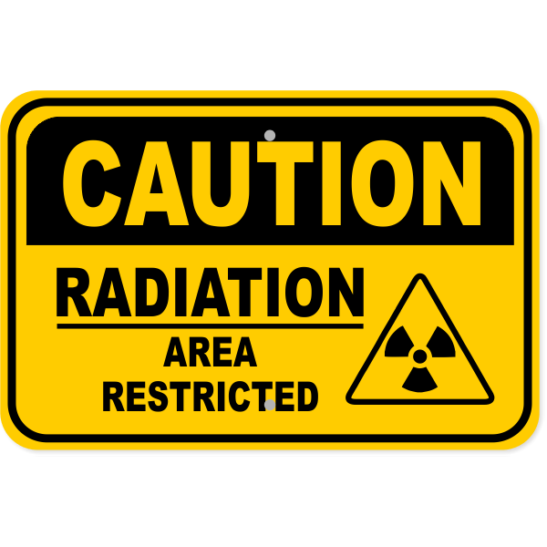 "Caution Radiation Area Restricted Aluminum Sign | 12"" x 18"""